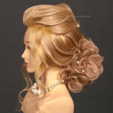 آموزش شینیون مو با موی اضافه | آموزش شینیون با پروتز  مرحله به مرحله