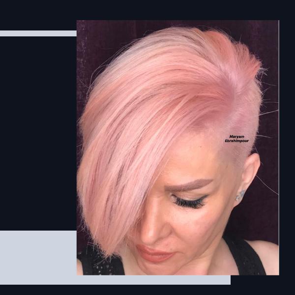 رنگ-مو-فانتزی-بدون-دکلره-صورتی