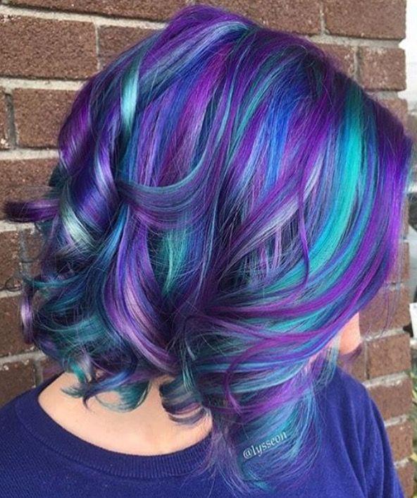 رنگ مو فانتزی هایلایت آبی و بنفش