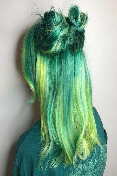 رنگ مو فانتزی سبز و زرد