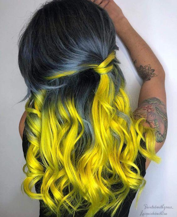 رنگ مو فانتزی آمبره خاکستری زرد