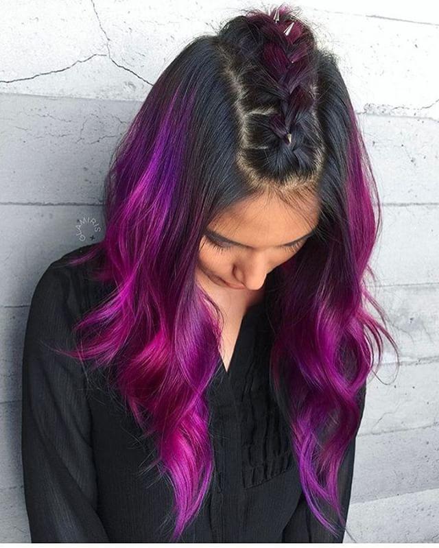 رنگ مو فانتزی آمبره بنفش