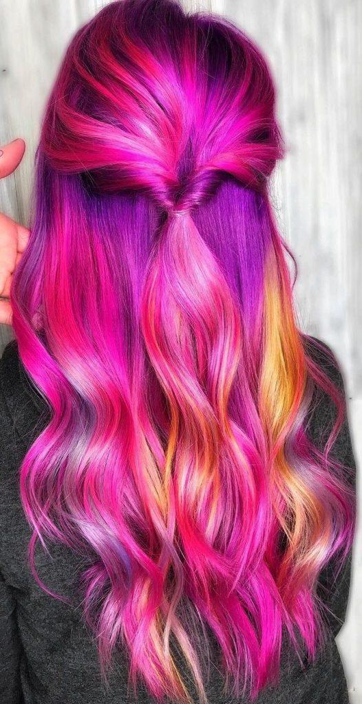 رنگ مو فانتزی بنفش سرخابی