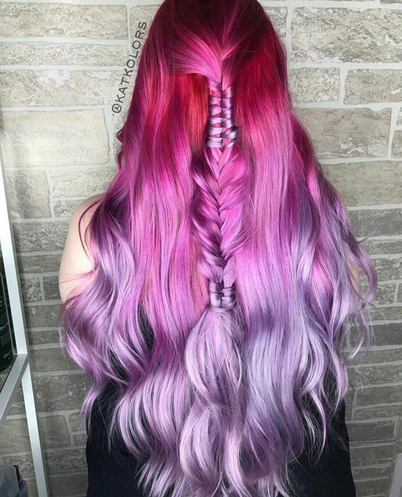 رنگ مو فانتزی آمبره سرخابی بنفش یاسی
