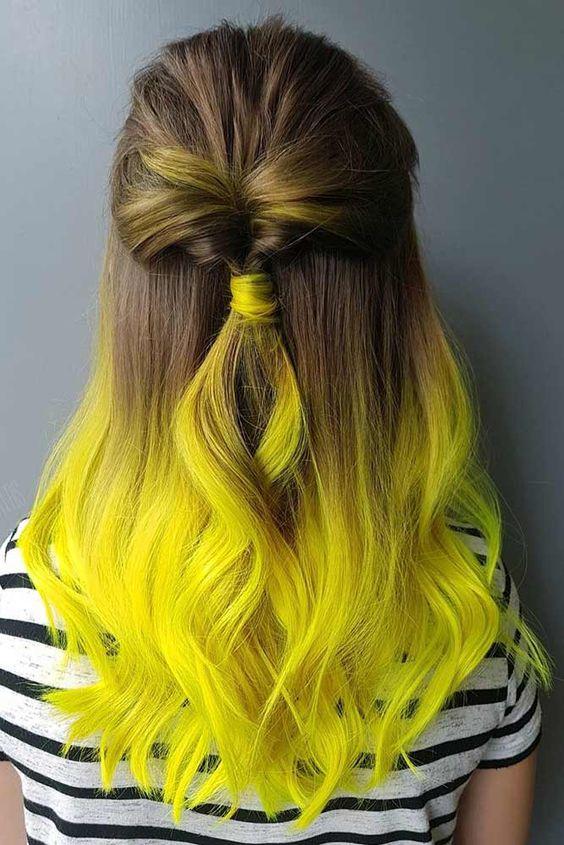 رنگ مو فانتزی آمبره قهوه ای زرد