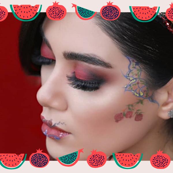 آرایش شب یلدا با دیزاین روی صورت